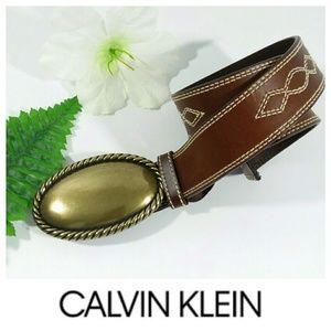 NWOT Calvin Klein BRASS BUCKLE BELT